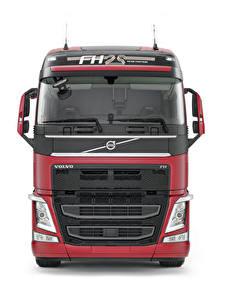 Hintergrundbilder Volvo Lastkraftwagen Vorne Weißer hintergrund FH 500 Globetrotter XL Autos