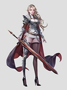 Photo Warrior Elf Gray background Swords Stockings Legs Beautiful Blonde girl jangwon park Fantasy Girls