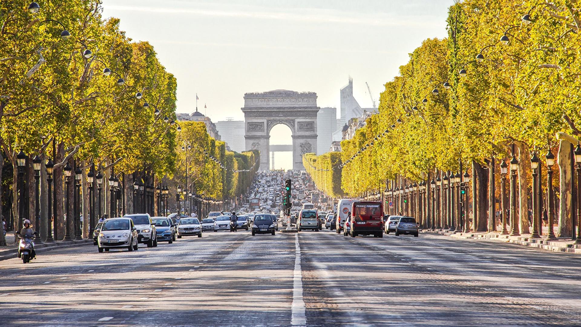 Image Paris France Arch Roads Cities 1920x1080