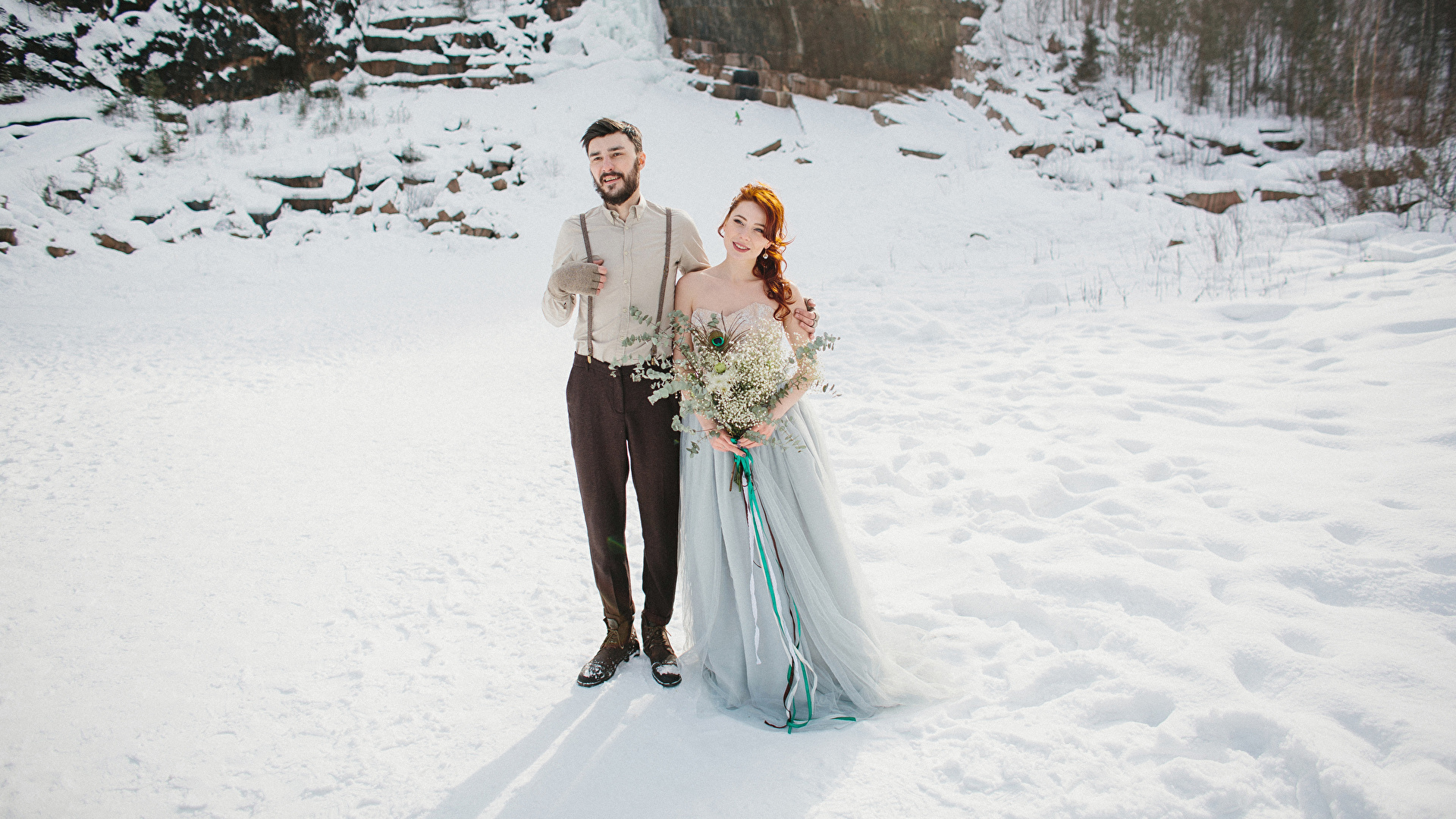 Fotos Bräutigam Brautpaar Sträuße Liebe Winter Mädchens Kleid 1920x1080