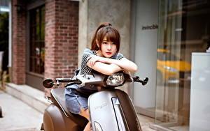 Bilder Asiatische Motorroller Braune Haare Hübscher Mädchens
