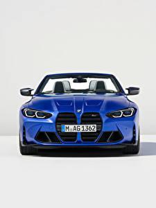 Desktop hintergrundbilder BMW Cabrio Blau Metallisch Vorne M4 Competition M xDrive Cabrio, (Worldwide), (G83), 2021 auto