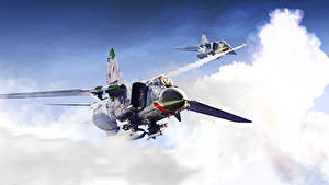 Bilder Flugzeuge Jagdflugzeug Gezeichnet Russisches MiG-23 Luftfahrt