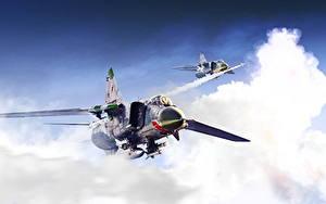 Bilder Flugzeuge Jagdflugzeug Gezeichnet Russische MiG-23 Luftfahrt