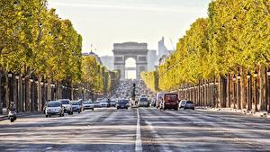 Wallpaper Roads France Paris Arch Cities