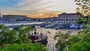 Fotos Schweden Stockholm Gebäude Flusse Bootssteg Brücken Binnenschiff