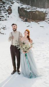 Hintergrundbilder Winter Sträuße Liebe Bräutigam Brautpaar Kleid