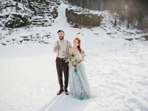 Pictures Winter Bouquets Love Groom Bride Dress Girls