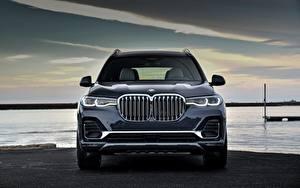 Bureaubladachtergronden BMW Cross-over auto Metallic Vooraanzicht X7, G07 auto's