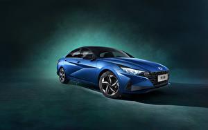 Hintergrundbilder Hyundai Blau Metallisch Elantra 240T (CN7), 2020 auto