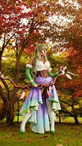 Bilder Mikhail Davydov photographer Krieger Pose Bogen Waffen Bäume Blick Cosplay Rena Mädchens Fantasy