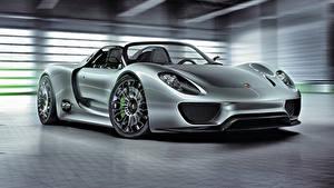 Fotos Porsche Graue Metallisch Roadster 2010 918 Spyder Concept auto