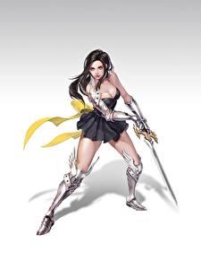 Images Warriors Beautiful Legs Armor Brunette girl Swords Hye Jeong Hwang Fantasy Girls