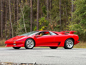 Hintergrundbilder Lamborghini Retro Rot Metallisch 1990-93 Diablo