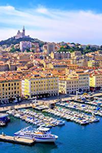 Hintergrundbilder Marseille Frankreich Haus Bootssteg Motorboot Städte