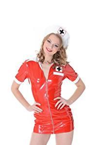 Bilder Weißer hintergrund Pose Uniform Latex Krankenschwester Merry Pie junge frau