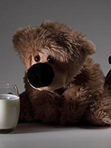 Bilder Milch Teddy Uhr Kekse Wecker Trinkglas Lebensmittel