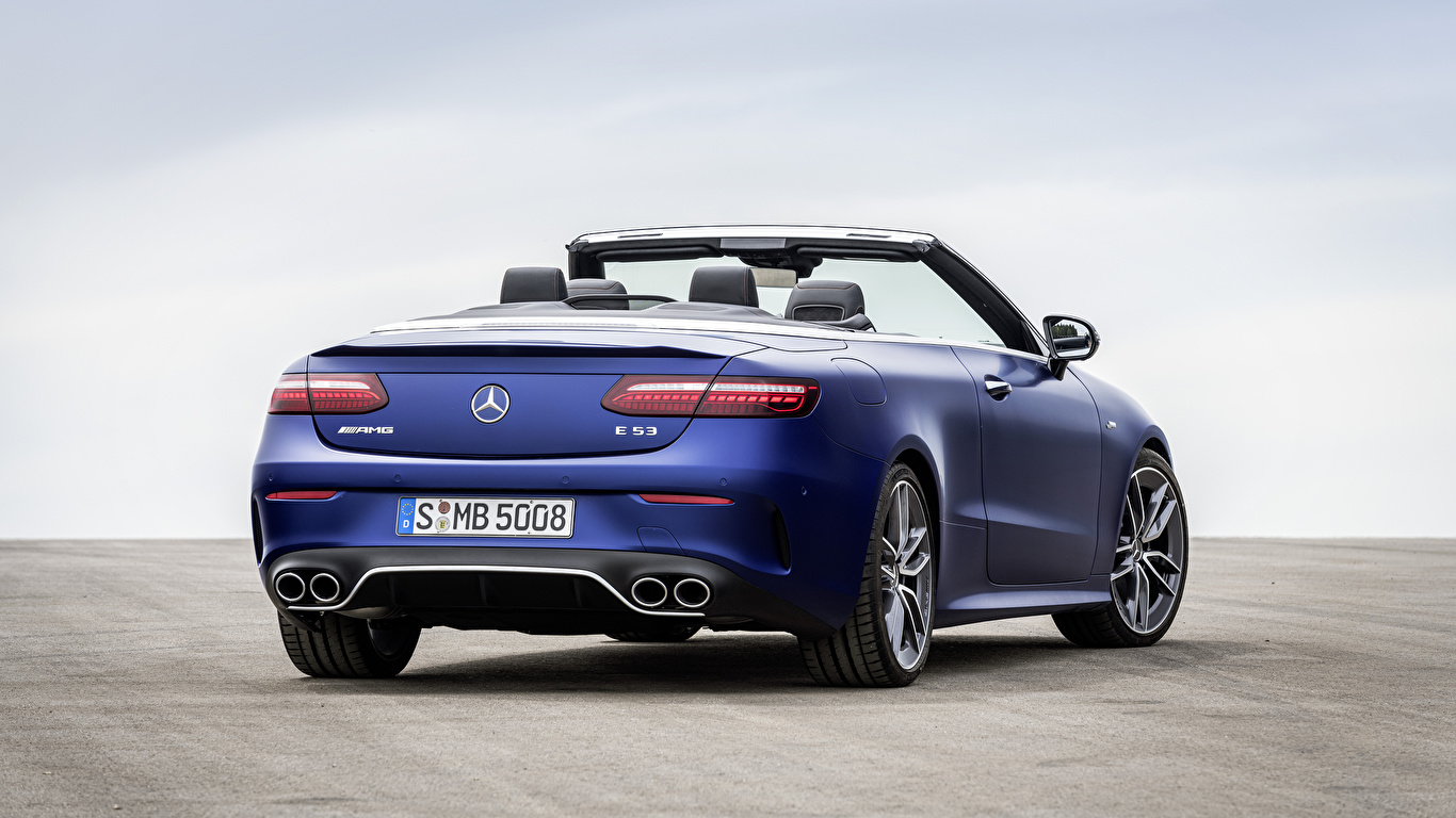 Fotos Mercedes-Benz E 53 4MATIC, Cabrio Worldwide, A238, 2020 Blau Autos Hinten Metallisch 1366x768 Cabriolet auto automobil