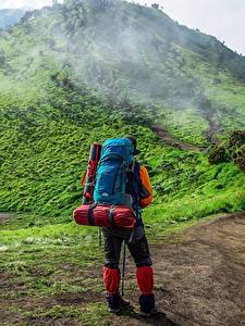Fotos Berg Weg Reisender Hinten Rucksack Nebel