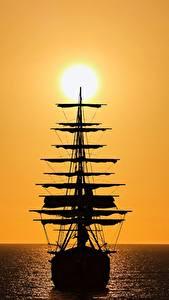 Fotos Schiffe Segeln Silhouetten Sonne