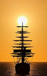 壁纸、、船、セーリング、シルエット、太陽、