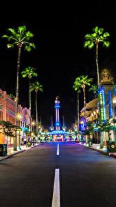 Hintergrundbilder USA Disneyland Park Gebäude Wege HDRI Kalifornien Anaheim Straße Nacht