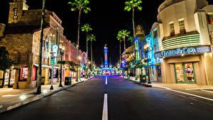 Hintergrundbilder USA Disneyland Park Gebäude Wege HDRI Kalifornien Anaheim Straße Nacht Städte