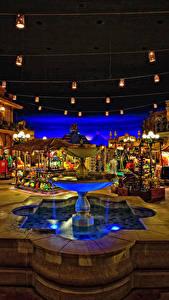 Hintergrundbilder USA Park Disneyland Gebäude Springbrunnen Kalifornien Platz Straßenlaterne HDR Nacht Städte