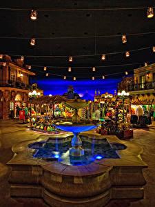 Hintergrundbilder USA Park Disneyland Gebäude Springbrunnen Kalifornien Platz Straßenlaterne HDRI Nacht Städte