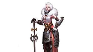 Fotos Krieger Weißer hintergrund Schöne Schwert Blondine Rüstung CHOI kwangsoon, Queen of the snowy Fantasy Mädchens