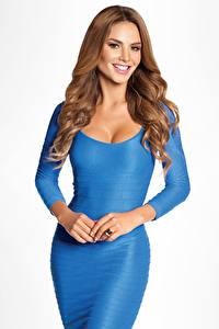 Bilder Grauer Hintergrund Braunhaarige Blick Lächeln Hand Kleid Ximena Cordoba