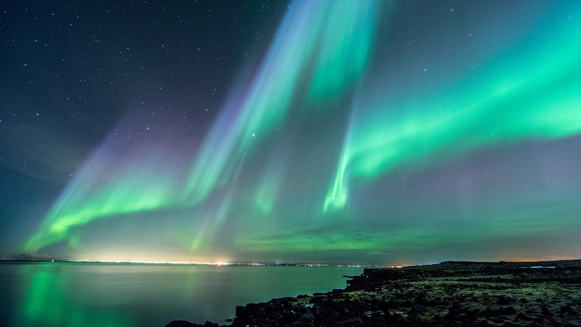 壁紙 19x1080 アイスランド 空 海岸 オーロラ 夜 自然 ダウンロード 写真
