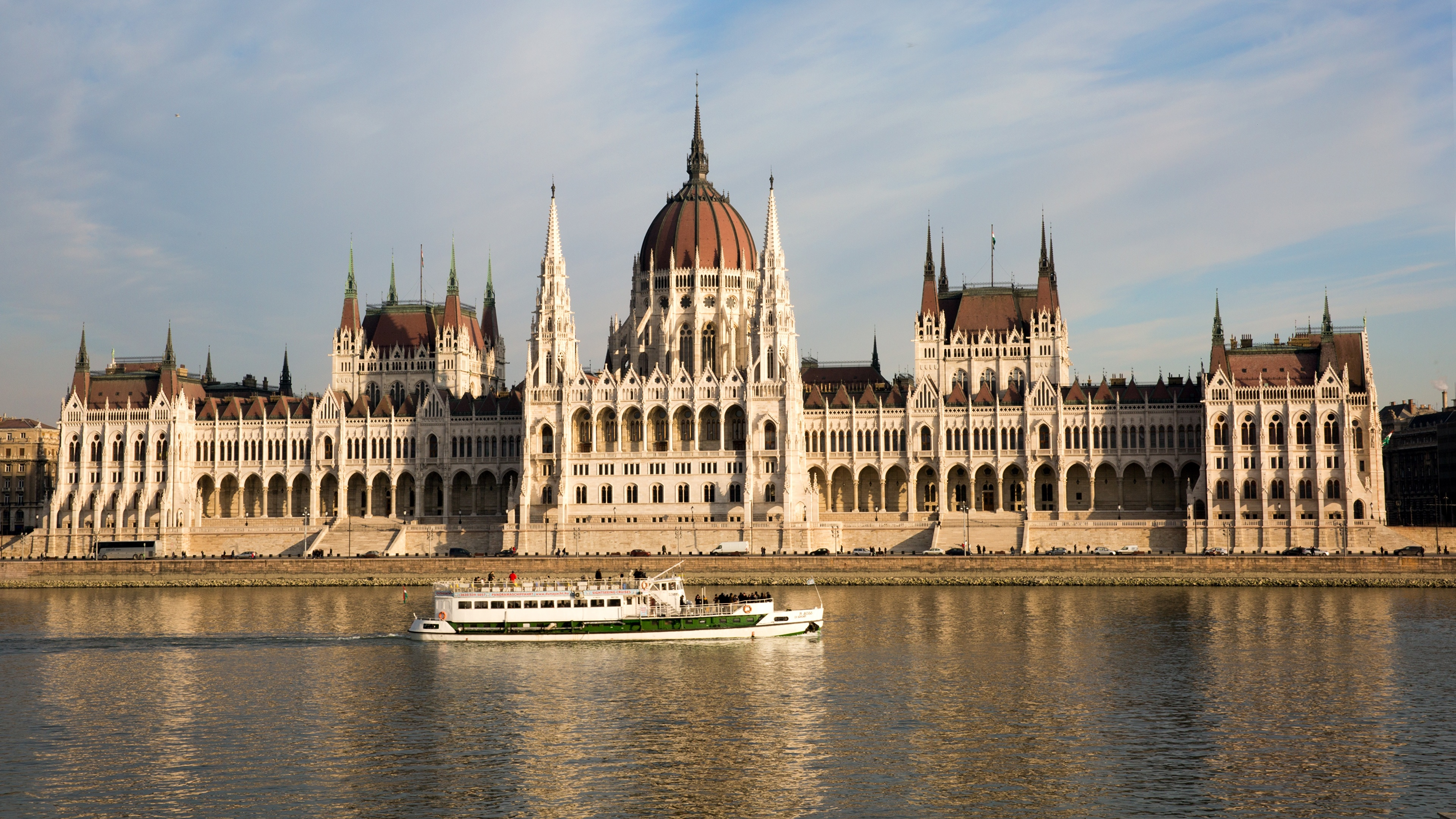 Image Budapest Hungary Danube Riverboat river Cities 3840x2160 Rivers