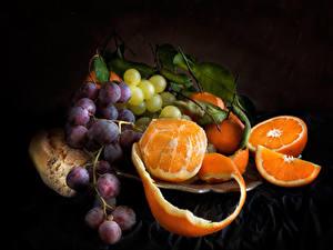 Bilder Obst Weintraube Apfelsine Schwarzer Hintergrund