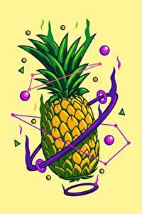 Bilder Ananas Gezeichnet Farbigen hintergrund das Essen