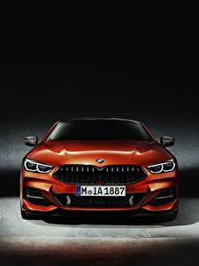 Wallpaper BMW Front Orange Coupe 8-Series 2018