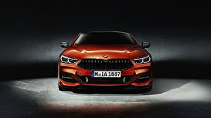 Bureaubladachtergronden BMW Vooraanzicht Oranje Coupé 8-Series 2018 auto's