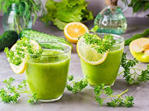 Bilder Smoothie Zitrone Gemüse Trinkglas 2 Lebensmittel