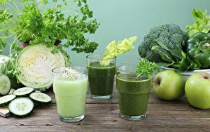 Bilder Smoothie Gemüse Äpfel Kohl Gurke Trinkglas Lebensmittel