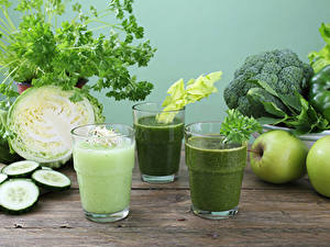 Bilder Smoothie Gemüse Äpfel Kohl Gurke Brokkoli Trinkglas