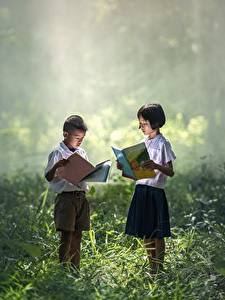 Pictures Asiatic Grass Boys Little girls Two Books child