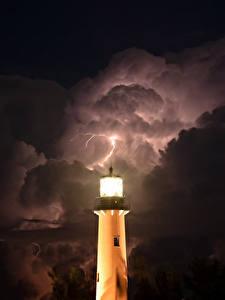 Bilder Leuchtturm Himmel Nacht Blitz Wolke