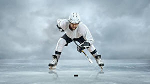 Photo Men Hockey Uniform Helmet Ice Ice skate Sport