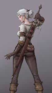 Hintergrundbilder The Witcher 3: Wild Hunt Gezeichnet Krieger Hinten Fanart Grauer Hintergrund Schwert Blond Mädchen Ciri Spiele Mädchens Fantasy