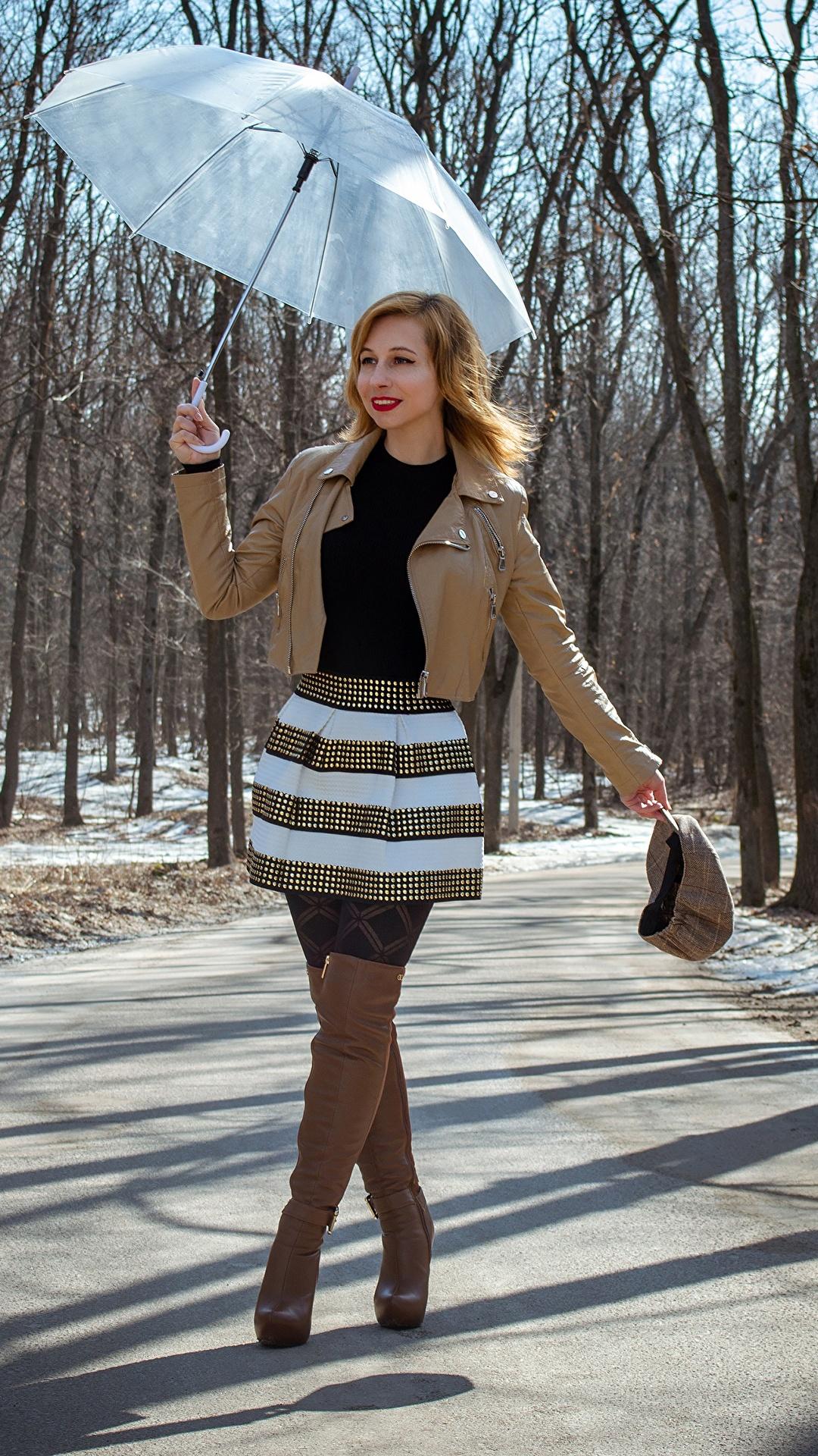 Fotos Victoria Borodinova Rock Stiefel Jacke Frühling Mädchens Wege Bein Hand Regenschirm 1080x1920 für Handy junge frau junge Frauen Straße