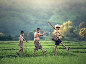 Fotos Asiatische Drei 3 Junge Der Hut Shorts Gras Spaziergang Kinder
