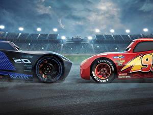 Hintergrundbilder Cars 3 Zwei Lightning McQueen, Jackson Storm Zeichentrickfilm