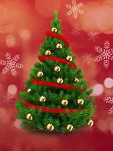 Hintergrundbilder Neujahr Tannenbaum Kugeln Schneeflocken