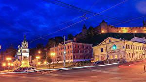 Hintergrundbilder Russland Gebäude Tempel Denkmal Stadtstraße Nacht Straßenlaterne Nizhny Novgorod Städte