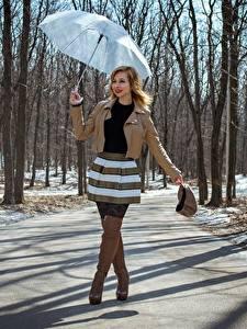 Wallpapers Spring Roads Victoria Borodinova Parasol Hands Jacket Skirt Legs Wearing boots Girls